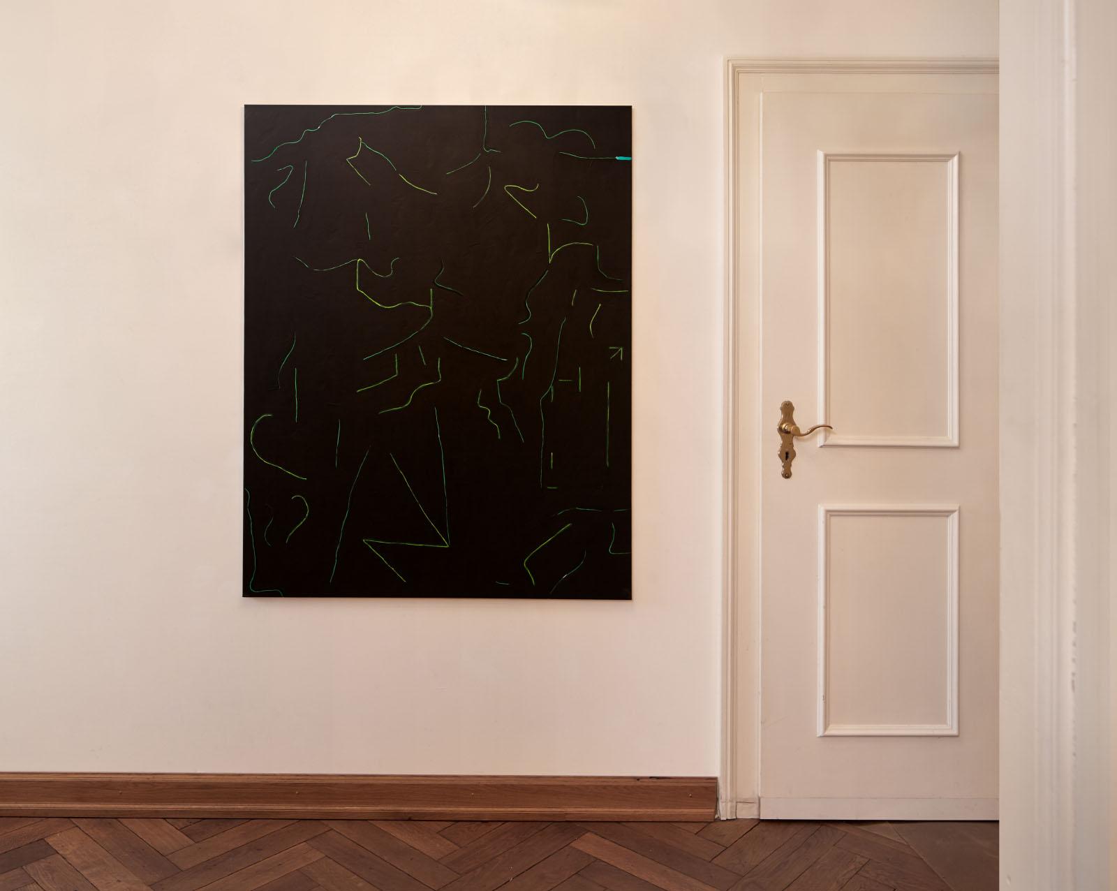 """Ausstellungsansicht der Gruppenausstellung """"Deine blauen Augen sind mir scheißegal"""" – Malerei: Uta Koslik"""