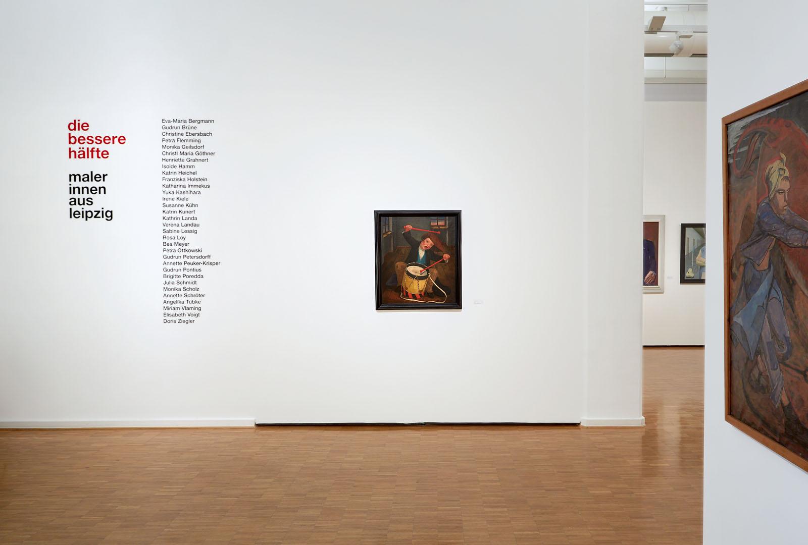 """Fotoaufnahmen der Malerei """"Demonstration"""" von Elisabeth Voigt. Ausstellung: """"Die bessere hälfte…"""" Kunsthalle der Sparkasse Leipzig. Auftrag: prinzplusprinz"""